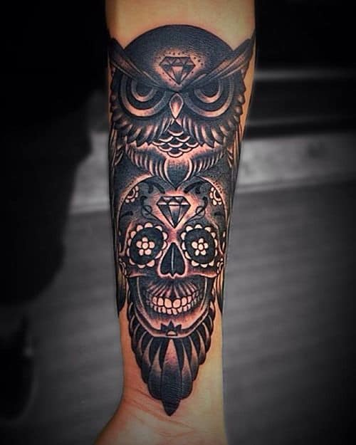 Scary Owl, Skull and Diamond Arm Tattoos