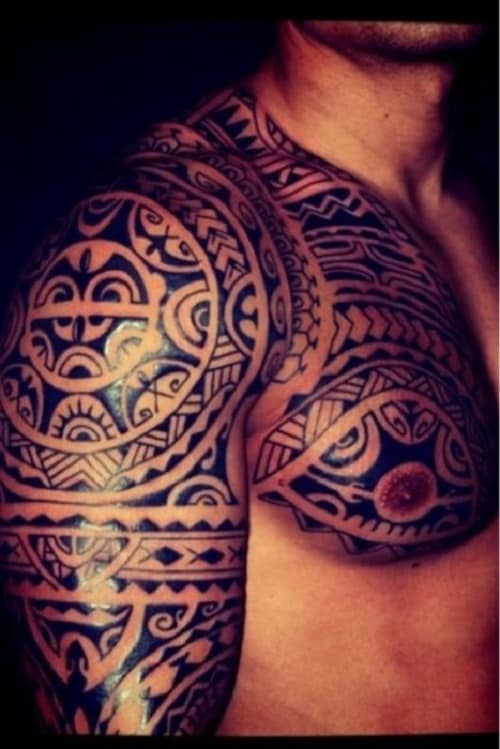 Shoulder and Arm Maori Tribal Tattoos