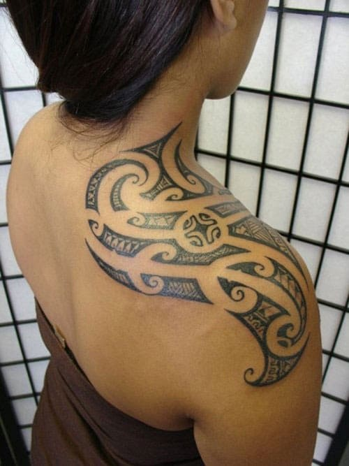Shoulder Hawaiian Tribal Tattoos Design