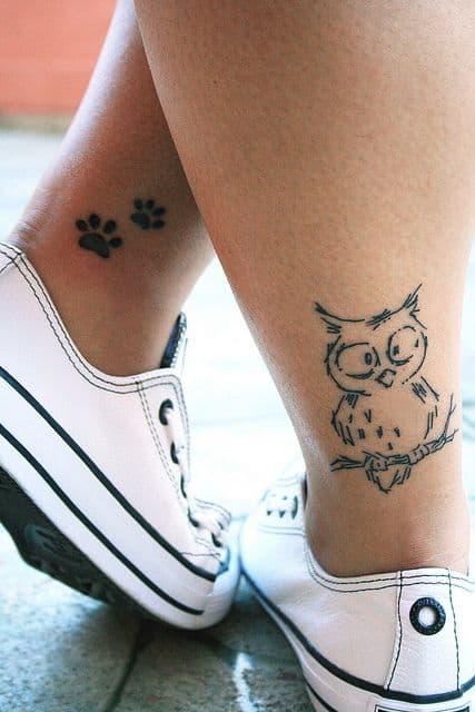 Simple Owl Tattoo on Back of Leg