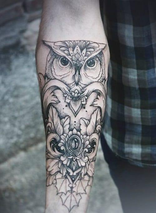 Simple Minimalist Owl Tattoo: 150 Meaningful Owl Tattoos (Ultimate Guide, May 2020