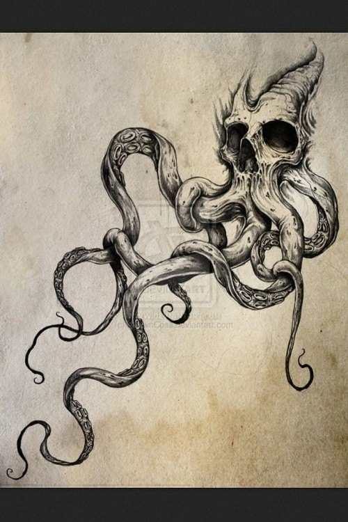 Skull with Octopus Tentacles Tattoo