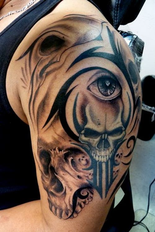 Skulls and Eyes Tribal Tattoos