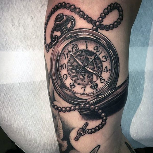 Striking Pocket Watch Tattoo Design On Forearms Men