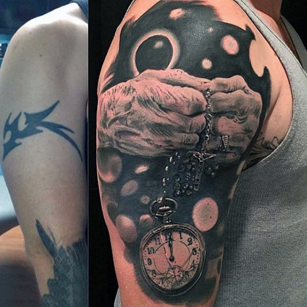 Sureallistic Mens Pocket Watch Tattoo On Arms