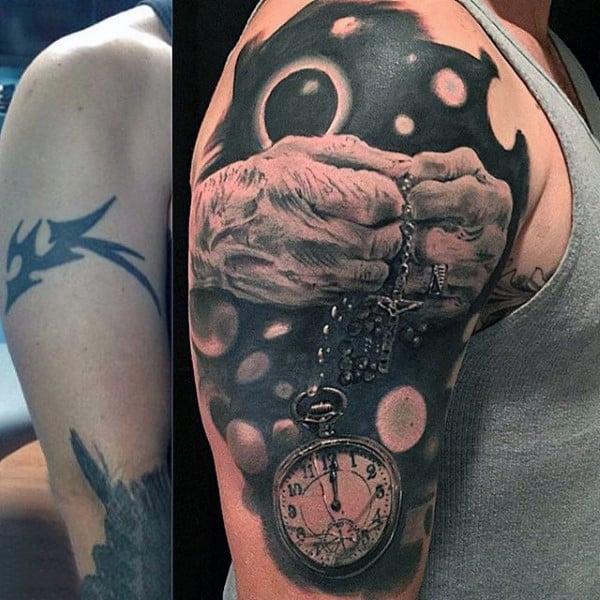 Sureallistic Mens Pocket Watch Tattoo On Arms