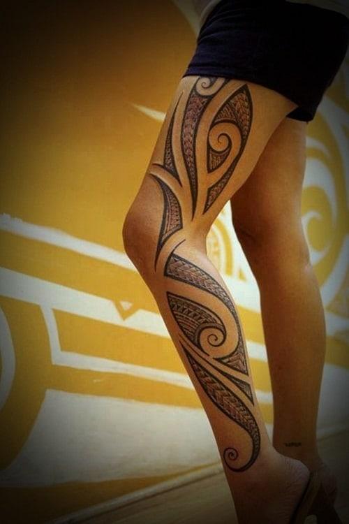 Thigh and Leg Tribal Tattoos