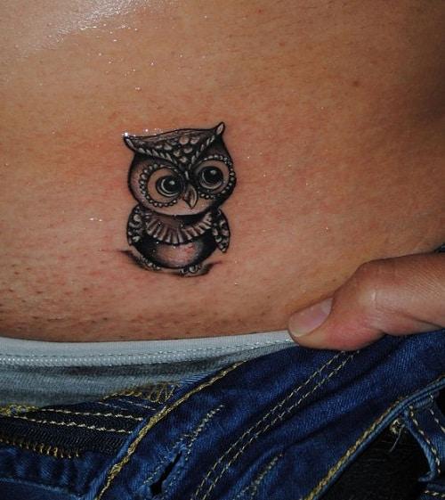 Tiny Owl on Skin Tattoo