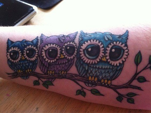 Tiny Owls on Branches Tattoos