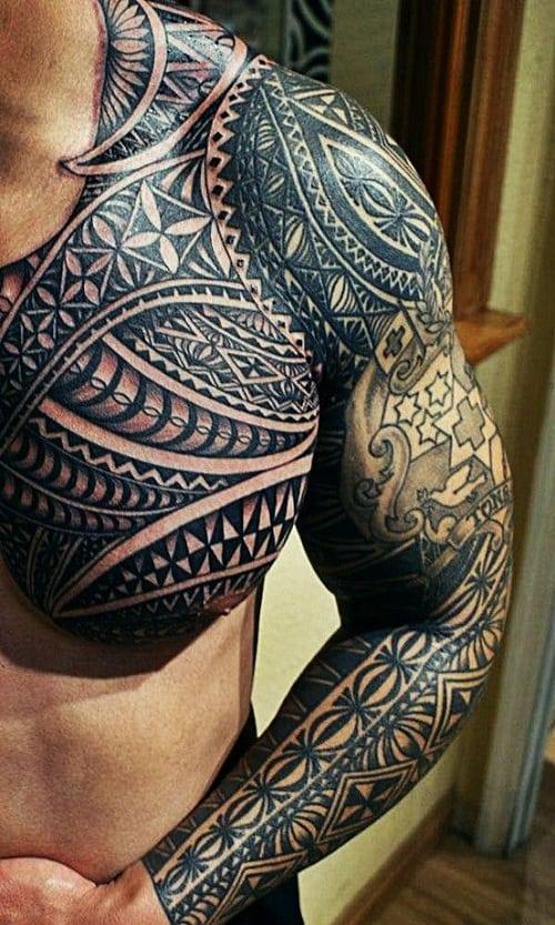 man with maori tattoos