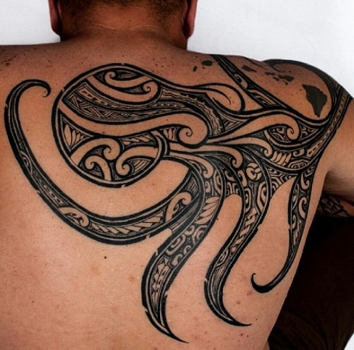 Tribal Octopus on Half Back Tattoo