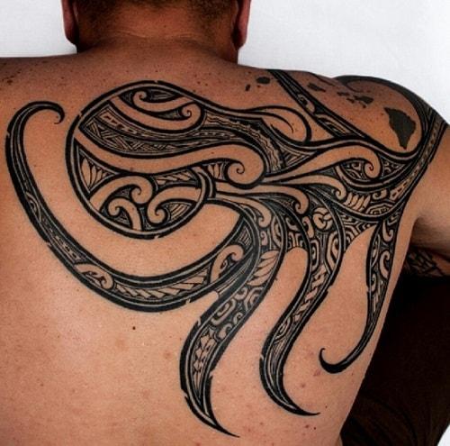 Tribal Octopus on Half Back Tattoo