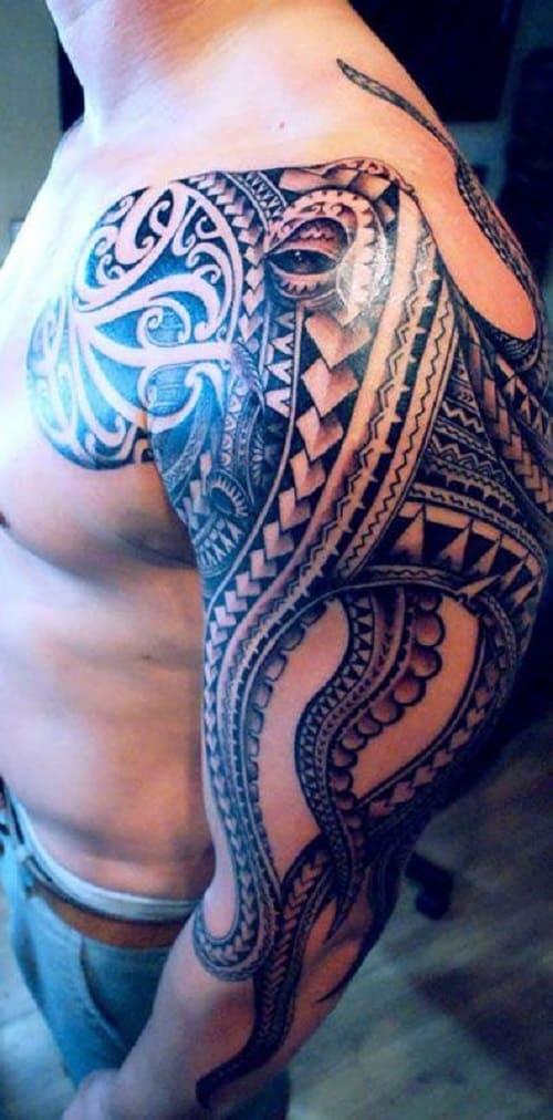 Tribal Octopus Tattoo Sleeve
