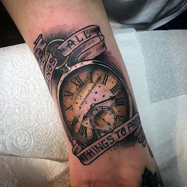 Warm Honey Colored Pocket Watch Tattoo On Forearms Male