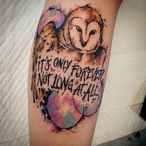 Watercolor Owl with Quote Tattoo