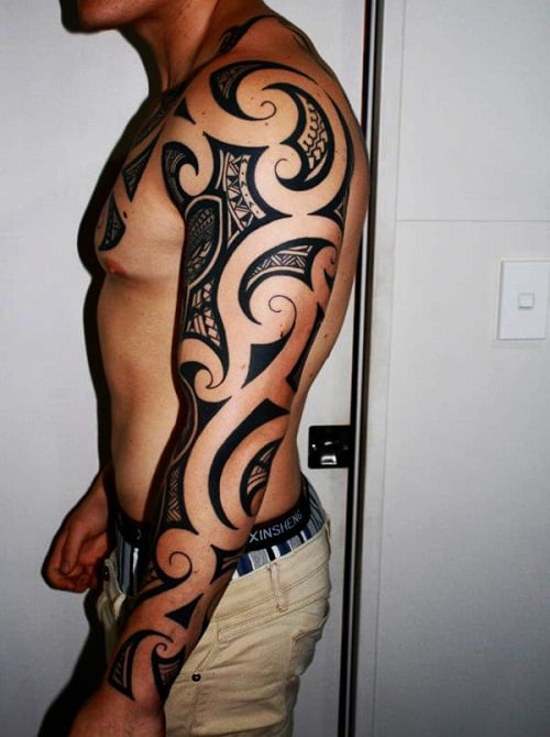 Whole Sleeve Half Chest Tribal Tattoos