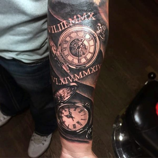 Wonderful Guys Forearms Pocket Watch Tattoo
