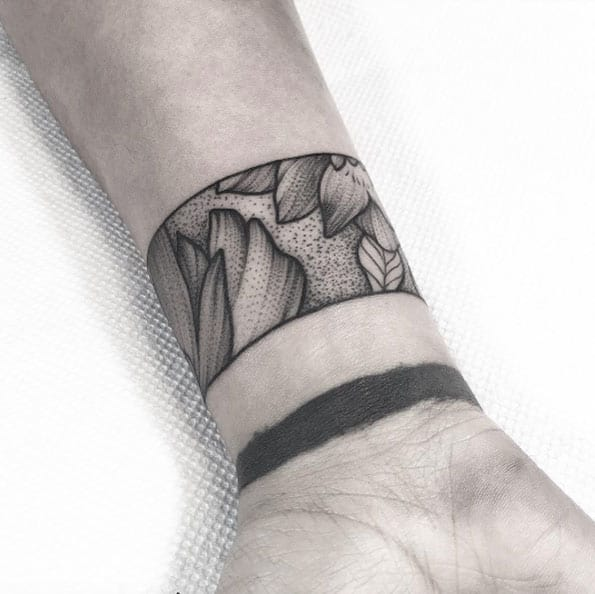Dotwork Floral Cuff by Lawrence Edwards