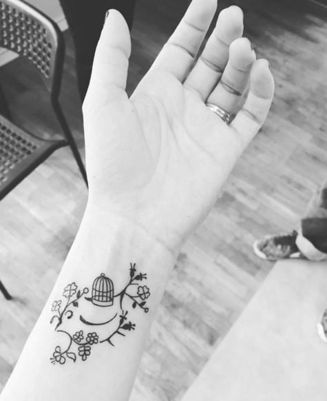 Bird Cage Tattoo on Wrist