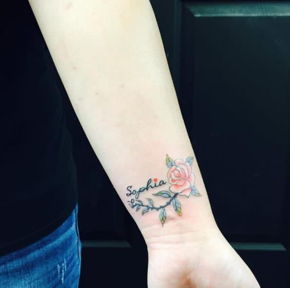 Rose Tattoo on Wrist by Frank Tran