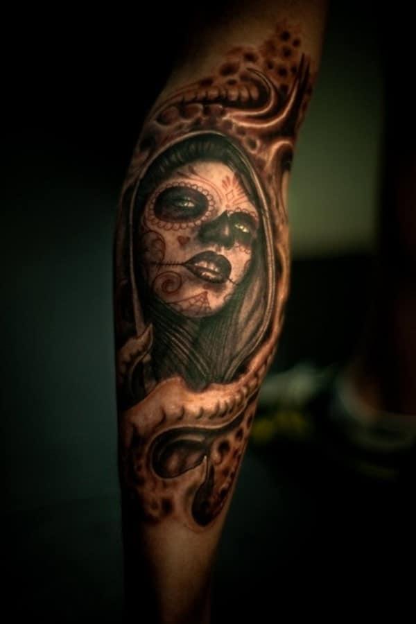 Corpse-tattoo-idea-on-calf