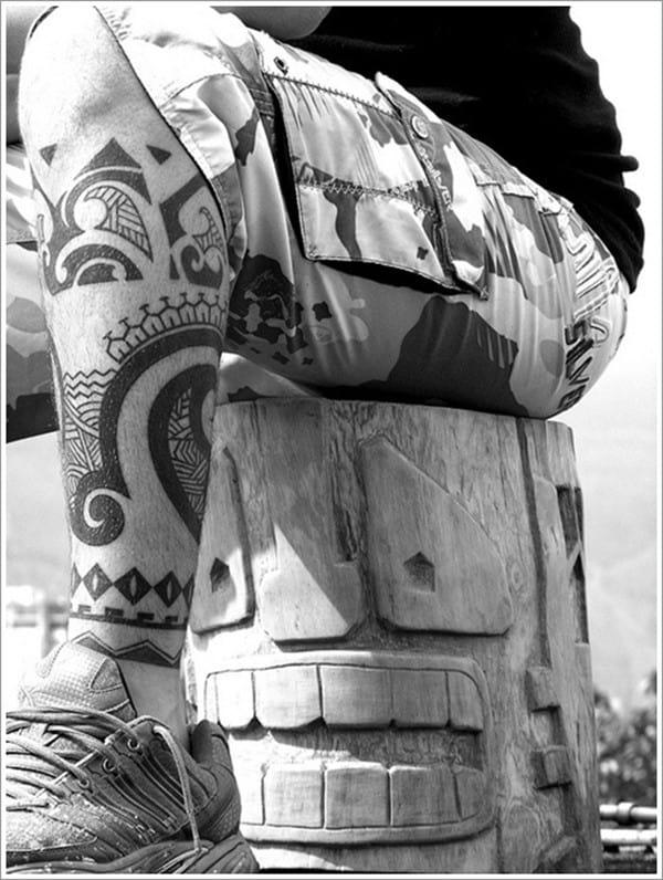 Maori-Tattoo-idea-on-calf