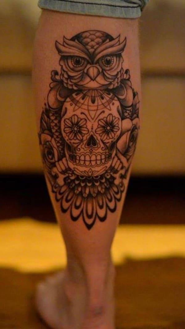 Skull-and-Owl-Tattoo