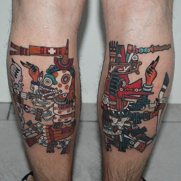 aztec tattoos on legs