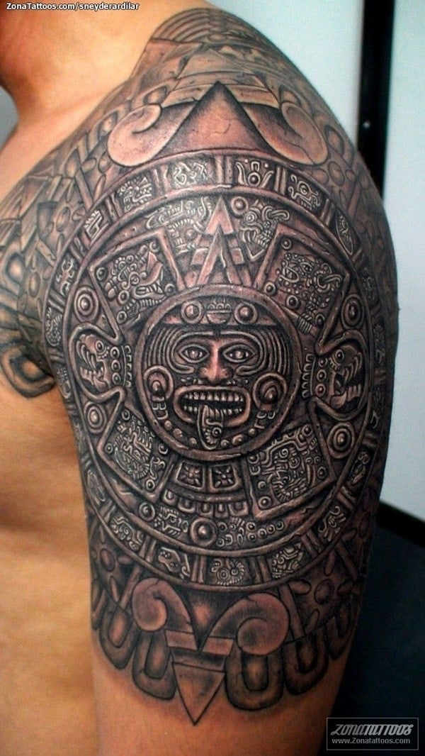 awesome aztec arm tattoo