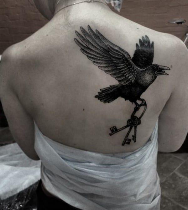 key-tattoo-crow