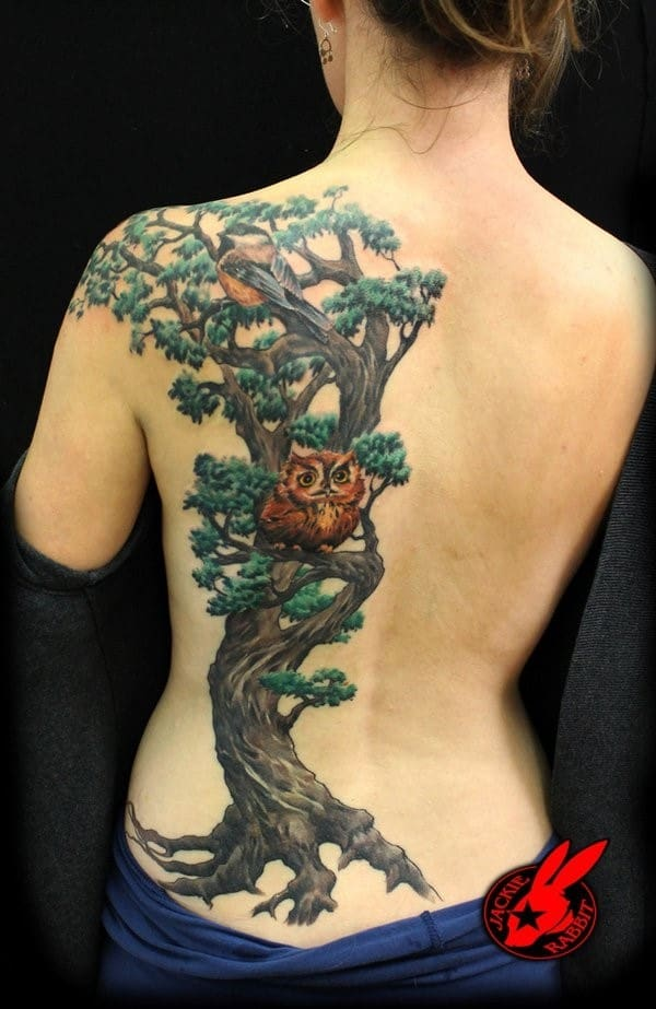 13-Tree-Bird-Owl-Back-Tattoos-for-Women