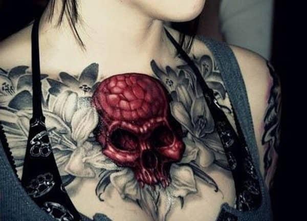 40-skull-and-flower-tattoo-for-women