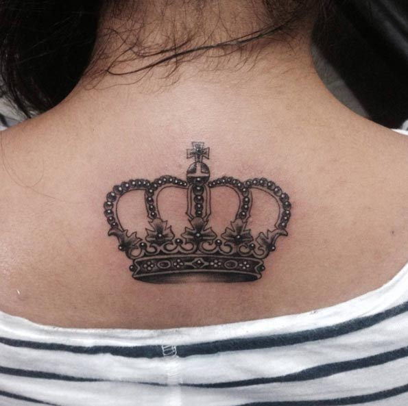 Crown Tattoo on Back by Anand Sohal