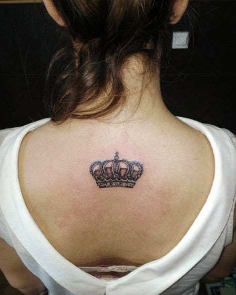 Crown Tattoo on Back by Siete Ramirez