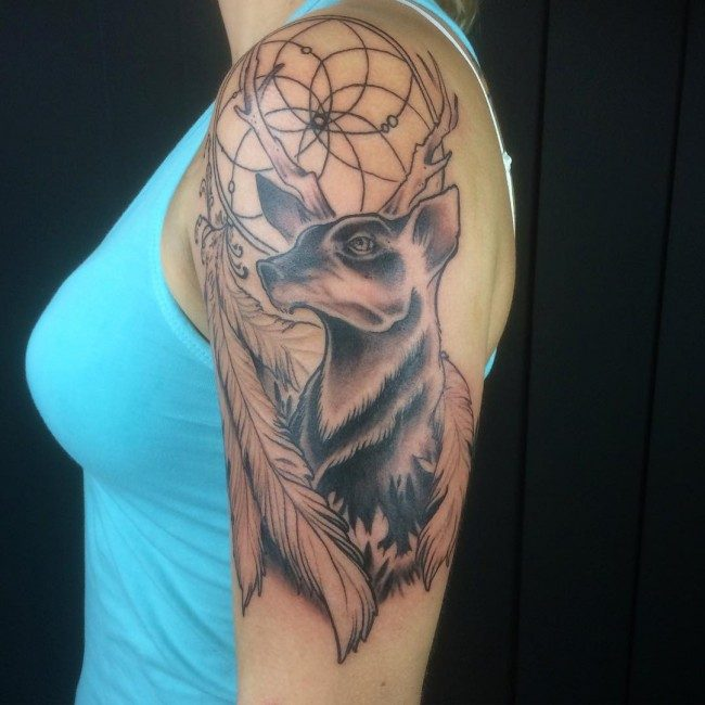 9f14bdd70da8e If men have this deer skull tattoo design, the female tattoo lovers have  this one. This is why such deer tattoo design is symbolizing femininity and  beauty.
