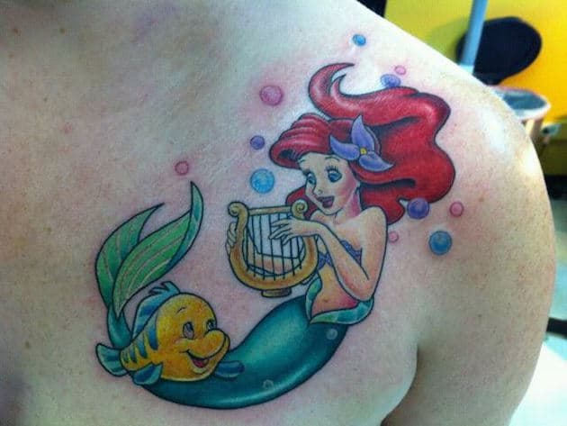 harp-ariel-little-mermaid-tattoos