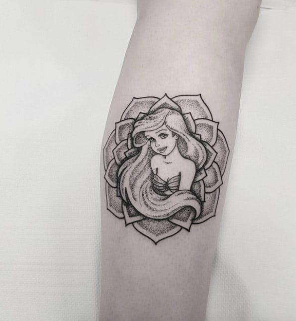 Ariel dotwork mandala tattoo by Jules Mandala