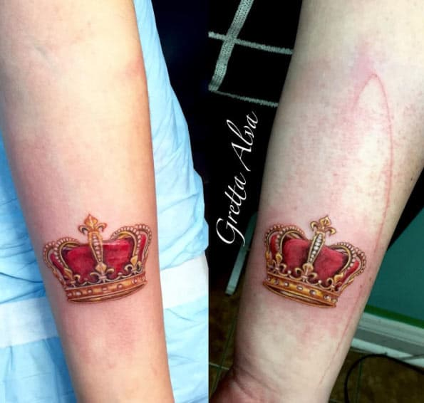 Matching Crown Tattoos by Gretta Alva