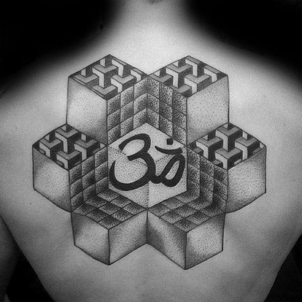 3d Cubes Mens Geometric Om Back Tattoos