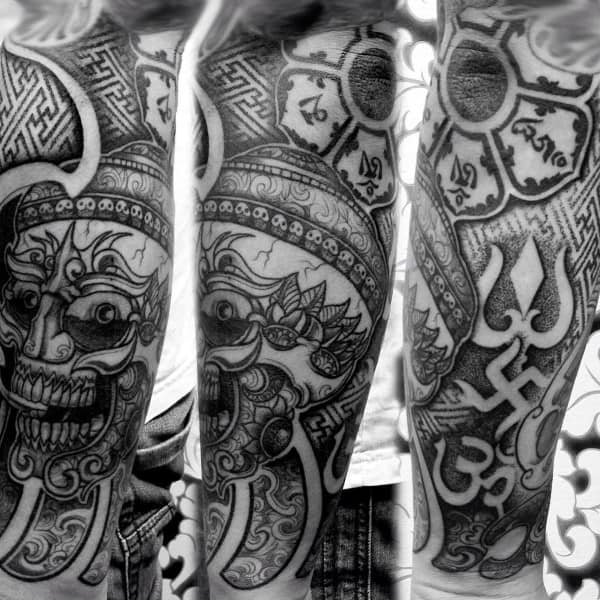 Arm Sleeve Guys Om Tattoo With Geometeric Pattern Designs