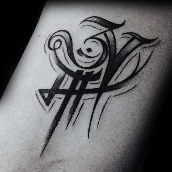 Decorative Lettering Om Symbol Mens Wrist Tattoos