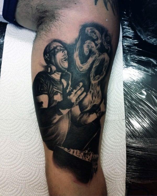 Dj Music Tattoo With Om Smoke Rising Mens Inner Arm Tattoo