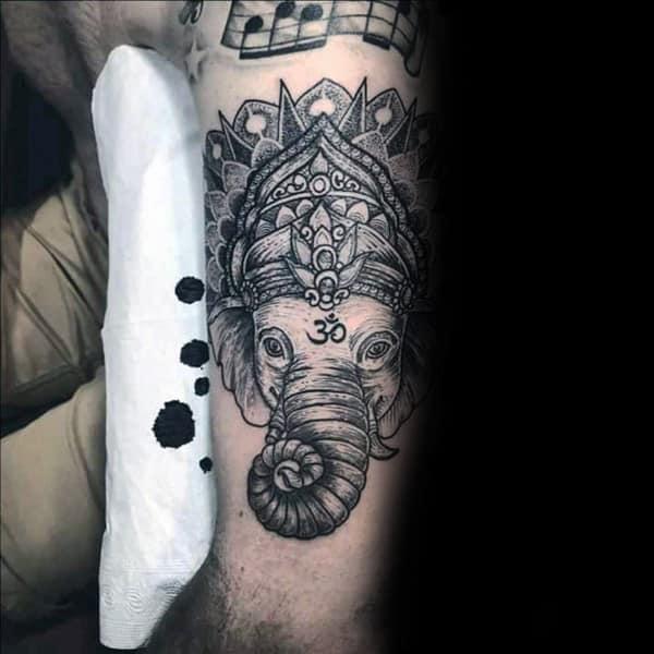 Hinduism Om Elephant Male Tattoo On Arm
