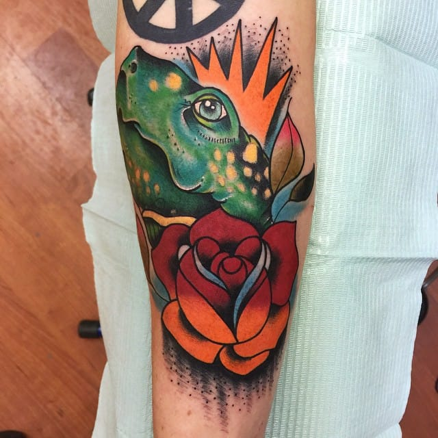 turtle tattoo with rose