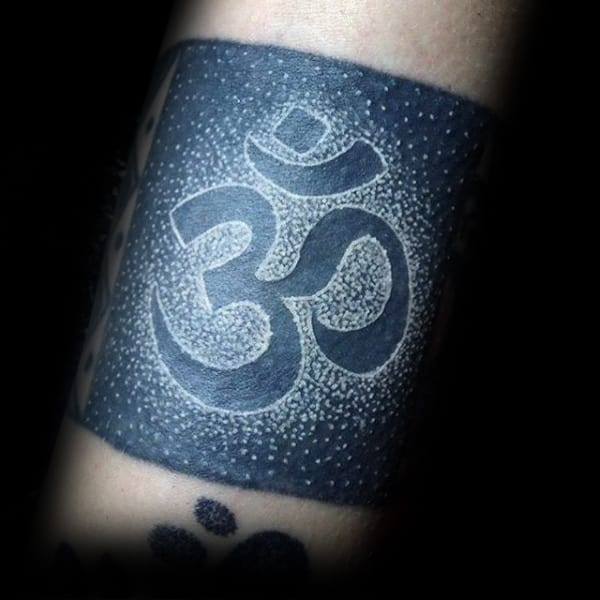 White Ink Over Black Ink Mens Om Quarter Sleeve Tattoo