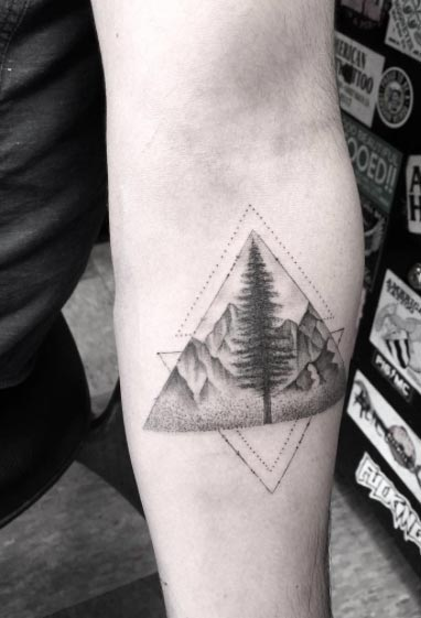 Blackwork Landscape Tattoo by Doctor Woo