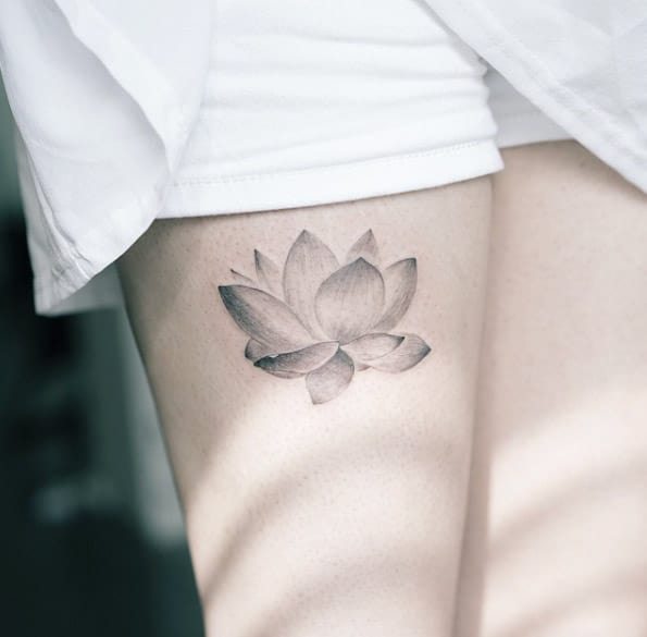Black & Grey Ink Lotus Tattoo by Sol Tattoo