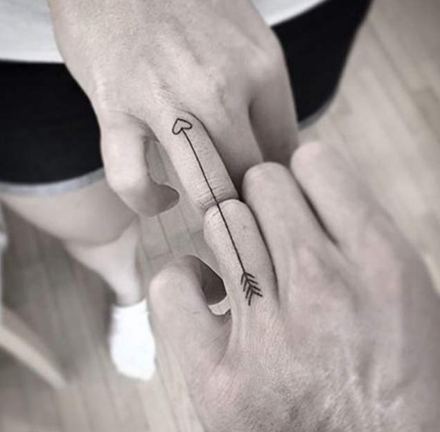 Connecting Arrow Couple Tattoo