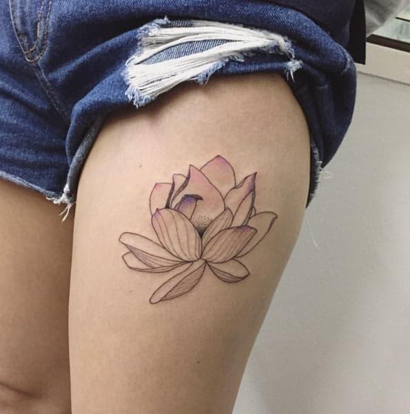 Minimal Lotus Flower Tattoo by Ilwol