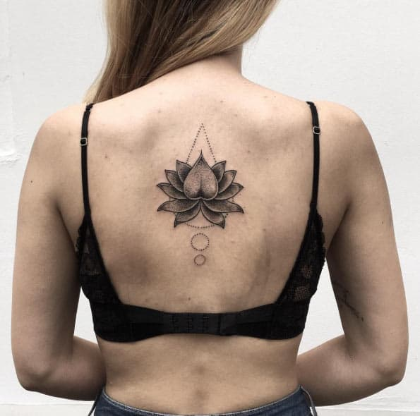 Lotus Flower Tattoo on Back by Roma Severov